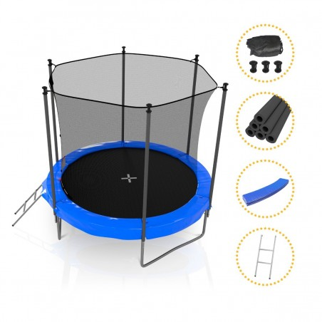 Trampoline Jump4Fun avec filet de sécurité 8FT - 244cm - Rouge