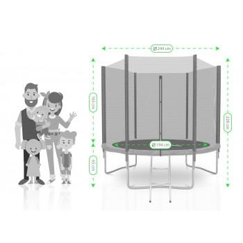 Pack de 8 Mousses de protection des Perches - Trampoline - 13FT - 400cm - Vert Pomme