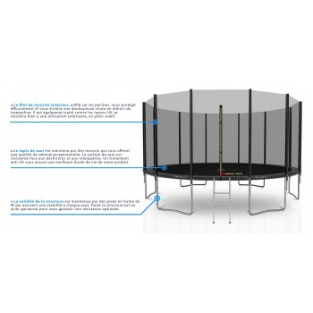 Pack de 8 Mousses de protection des Perches - Trampoline - 13FT - 400cm - Noir