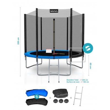 Pack de 6 Mousses de protection des Perches - Trampoline - 10FT - 305cm - Noir