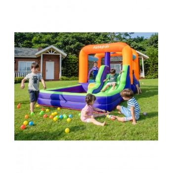 Trampoline avec filet de protection extérieur Jump4Fun 13FT - 12 perches - 400 cm - Bleu - Nouveauté 2018 !